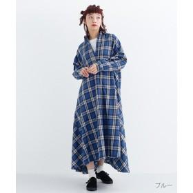 メルロー チェック柄スキッパーカラーワンピース レディース ブルー FREE 【merlot】