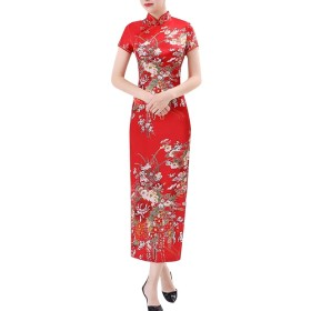 maweisong Woman Ancient Pure Silk Printing Cheongsam Embroidery Prom Evening Dress 9 S