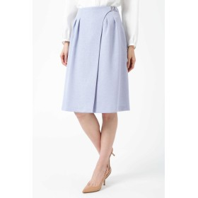 NATURAL BEAUTY ◆麻調バックル付ラップスカート ひざ丈スカート,サックス