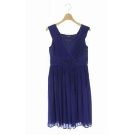 【中古】ロートレアモン LAUTREAMONT BLACK ワンピース ドレス ビジュー装飾 ひざ丈 ノースリーブ 36 紫 レディース