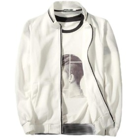 Nicellyer Men's Slim-Fit Stand Collar Pocketed Zipper Bomber Jacket Coat White S