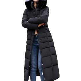 MyMei レディース コート ジャケット ダウンコート ダウンジャケット ロング ファッション 防風 暖かい 防寒 カジュアル 秋冬 (L, ブラック)