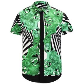 Pizoff(ピゾフ) メンズ シャツ 半袖 プリント 花柄 ファション お兄系 ボタンダウンシャツY1782-25-S