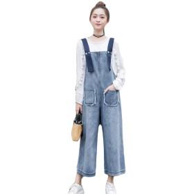 BeiBang(バイバン) レディース サロペット デニムサロペット ワイドパンツ ジーンズ かわいい ストリートパンツオールインワン ファッション オーバーオール 大きさサイズ(12)