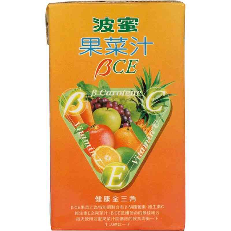 研發多年,使果菜汁BCE變得更好喝;更順口, 滿足了生活忙碌且缺乏足夠營養的現代人,一瓶補充您缺乏的營養素. B胡蘿蔔素、維生素C、維生素E是維他命的最佳組合,我們稱它為健康金三角. 產品責任險:66