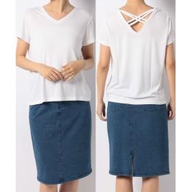 神戸レタス バッククロスVネックTシャツ レディース オフホワイト ワンサイズ(M) 【KOBE LETTUCE】