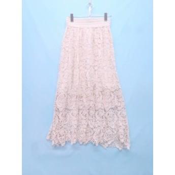 Cutleries(カトラリーズ)刺繍レースロングスカート 白 レディース Aランク M
