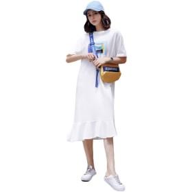 (グードコ) ロングシャツ レディース 半袖 プリントワンピース チュニック ハワイ風 Tシャツ マーメイドスカート ドレス ルームウェア オシャレ 体型カバー ホワイトL