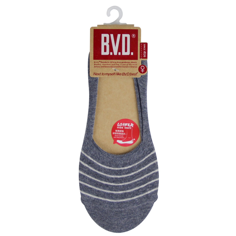 B.V.D簡約條紋休閒女襪套-5B248灰藍色