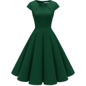 Homrain 50年代 ワンピース ドレス おおきいサイズ 結婚式 ワンピース パーティードレス Aライン カップ袖 7分袖 フォーマル カジュアル 婚活 ダークグリーン XLサイズ