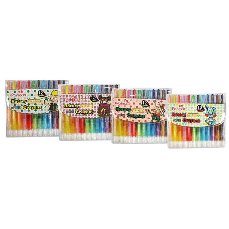 筆樂MEGU12色短桿旋轉蠟筆-顏色隨機出貨