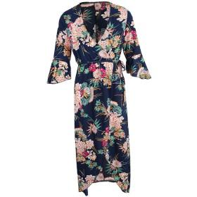 P Prettyia 女性 マキシドレス 花柄 長袖 ビーチドレス ワンピース Vネック ファッション 全4サイズ4色  - ネイビー, 2XL