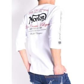 (ノートン) NORTON Tシャツ 迷彩メタル NORTONロゴ 刺繍プリント スムース 6分袖Tシャツ 191N1106-001WHITE (L, 001(ホワイト))