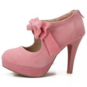 [fereshte] レディーズちょう結び ドレスパンプスアーモンドトゥ10cm ハイピンヒール結婚式の靴 ピンク27.0 cm