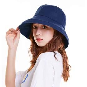 Limakara帽子 レディース uvカット 大きい つば広 コットン 両面使え 折りたたみ 人気 夏 紫外線対策 ハット 取り外しあご紐付き おしゃれ 小顔効果 可愛い 日よけ 吸汗通気 女優帽 母の日 プレゼント (片面タイプ(ネイビー))