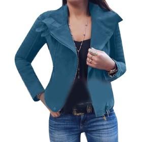 VITryst 女性固体オートバイスキニープラスサイズアウトコートコートジャケット Blue XS
