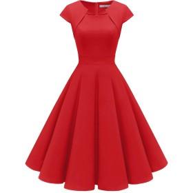 Homrain クリスマス衣装 パーティードレス 50年代 ワンピース カップ袖/7分袖 結婚式 ワンピース おおきいサイズ スイングワンピース レッド Lサイズ