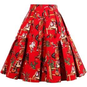 maweisong レディースミディプリーツライン花プリントスカートビンテージスカート 17 XL