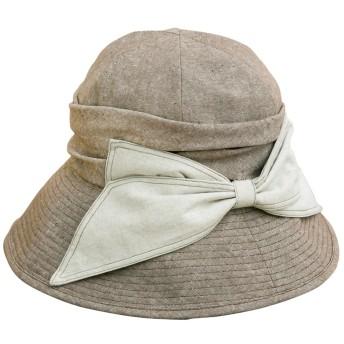 クイーンヘッド エレガントリボンUV ハット UVカット 帽子 レディース 大きいサイズ つば広 ハット 紫外線カット 女優帽 (XLサイズ61cm ブラウングレー)