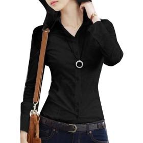 VITryst 女性のキャリアスリムフィットソリッドカラープラスサイズロングスリーブTシャツ Black M