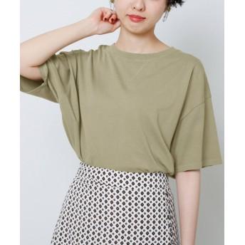 レイカズン ピグメント裾リブTシャツ レディース カーキ FREE 【Ray Cassin】