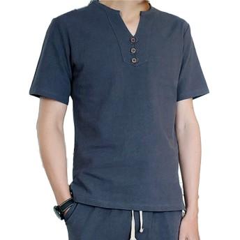 Tシャツ メンズ 半袖 Vネック スリムフィット 男性 夏服 綿 gray 3XL