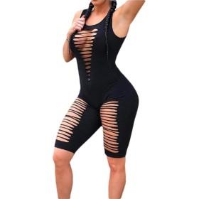 maweisong Women's Sleeveless Tank Tops Short Romper Hole Sports Jumpsuit Bodysuit One Piece Short black S