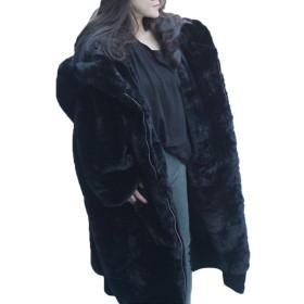 [CAIXINGYI] 冬 新しい 同じ段落でスター イミテーションウサギ 毛皮 コート 厚い ロングセクション フード付き ぬいぐるみ コート 女性 (ブラック, S)
