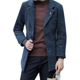 maweisong Men's Winter Single Breasted Wool Trench Overcoat Coat XS Gery