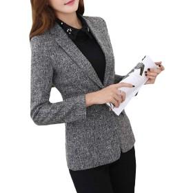 Kankanluck 女性ボタン曲線ロングスリーブラペル特大のスキニーブレイザーの上着 Grey XL