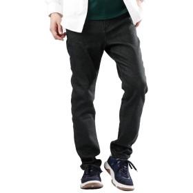 (モノマート) MONO-MART ストレッチ テーパード デニムパンツ スキニーデニム コットン リネン メンズ ブラック Sサイズ
