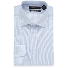 【86%OFF】ストライプ スプレッドカラー フィットシャツ ライトブルー 15.5/34