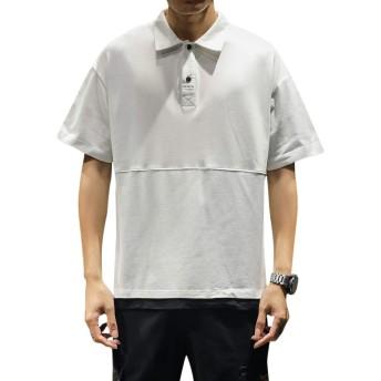 [Mirroryou(ミラーユー)] ポロシャツ メンズ 半袖 ゴルフウェア 無地 薄手 吸汗速乾 カジュアル 綿 M-5XL