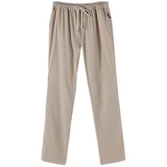MyMei ズボン パンツ ロングパンツ メンズウェア 男の子ウェア カジュアル 綿麻素材 春夏ウェア 通気 柔軟 (XL, ベージュ)