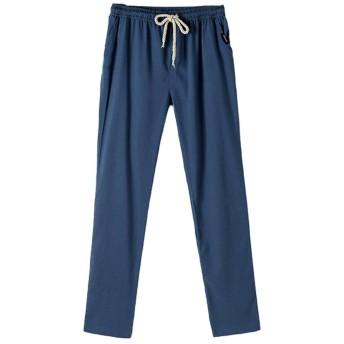 MyMei ズボン パンツ ロングパンツ メンズウェア 男の子ウェア カジュアル 綿麻素材 春夏ウェア 通気 柔軟 (L, ブルー)