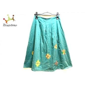 ホコモモラ JOCOMOMOLA ロングスカート サイズ42 L レディース 美品 グリーン×イエロー×マルチ 新着 20190730