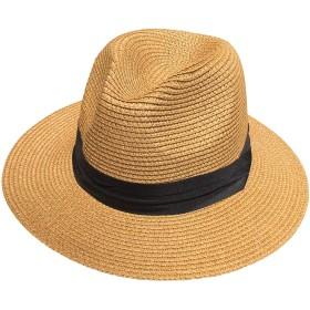fieldlabo ちょいわるオヤジの パナマハット 中折帽 麦わら 遮光 UV 紫外線 メンズ ゴルフ レジャー (ブラウン)