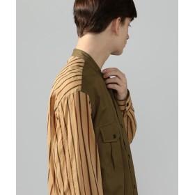 トゥモローランド コットンチノ×ローン バンドカラーシャツ メンズ 46ブラウン系 S 【TOMORROWLAND】