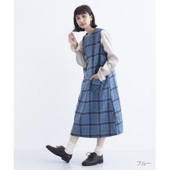 メルロー ウールライクチェックノースリーブワンピース レディース ブルー FREE 【merlot】