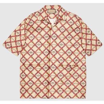 オーバーサイズ ペーパー エフェクト ボウリングシャツ