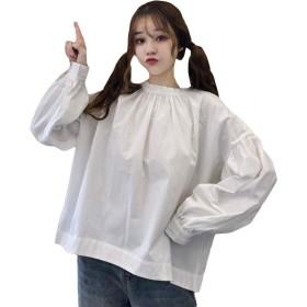 MLbossトップス 長袖 オーバーサイズ カットソー パフスリーブ 韓国ファッション 薄手 春物 ブラウス クルーネック(白)