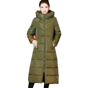 PuHao (プハオ) ダウンコート ロング丈 レディース ダウンジャケット おしゃれ 軽量 着痩せ 暖かい ライトダウン (グリーン, XL)