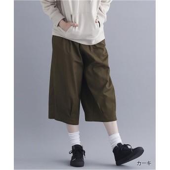 メルロー コットン裾タックミディ丈パンツ1803 レディース カーキ FREE 【merlot】
