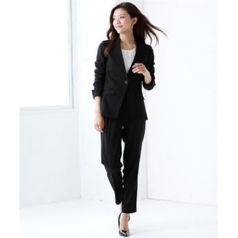 洗えるストレッチパンツスーツ(カラーレスジャケット+9分丈テーパードパンツ) (大きいサイズレディース)スーツ,women's suits ,plus size