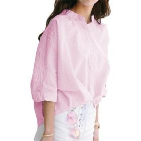 [Les Hiboux(レ・イブー)] シャツ 鮮やか 大きめ ゆるふわ ストライプ ブラウス レディース ピンク