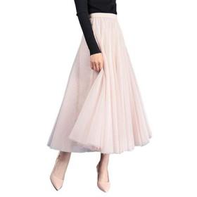 (アッシュランゲル)ASHERANGEL レディース ふんわりAライン チュールスカート ロング丈 5color (Free, ベージュ)