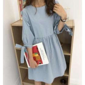韓国 ファッション レディース トップス チュニック ミニ丈 ワンピース リボン ギャザー 半袖 ゆったり 無地 ガーリー シンプル