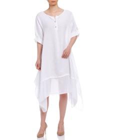 【80%OFF】2wayスリーブ サイドロング ドレス ホワイト f