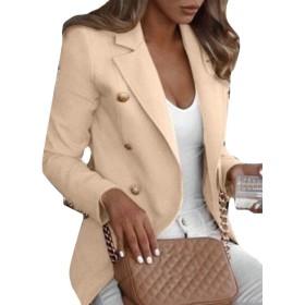 maweisong Women's Slim Solid Long Sleeve Lightweight Work Office Blazer Jacket Apricot XXL