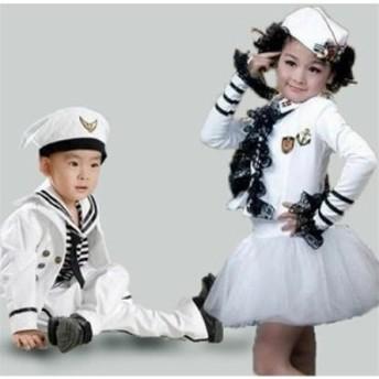 キッズダンス衣装 海軍 水兵コスプレ 海軍 コスチューム 女の子 男の子 ワンピース 海軍 コスプレ衣装 ハロウィン 衣装 コスプレ衣装 仮